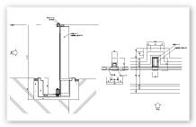 防水シート 見込タイプ 中間柱 平面断面図